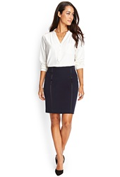 Forever 21 Tuxedo Stripe Pencil Skirt Navy Black