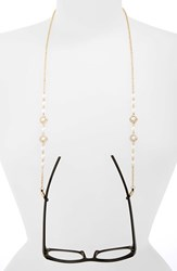 Women's Spring Street Pearly Bead And Pave Crystal Eyeglass Chain Gold