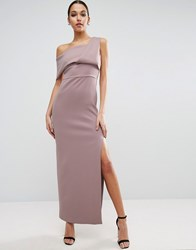 Asos Scuba One Shoulder Fold Maxi Dress With Exposed Zip Mink Pink