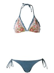 Amir Slama Triangle Bikini Set Blue