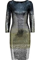 Alice Olivia Ramsey Metallic Ombre Sequined Stretch Tulle Dress