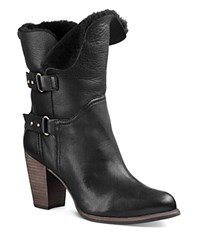 Ugg Jayne Leather And Sheepskin Mid Calf Booties Black
