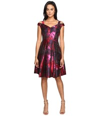 Maggy London Floral Brocade Fit And Flare Dress Red Black Women's Dress