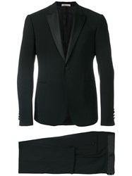 Armani Collezioni Formal Buttoned Dinner Suit Silk Polyester Spandex Elastane Virgin Wool Black
