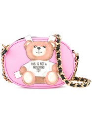 Moschino Toy Bear Paper Cut Out Crossbody Bag Pink Purple