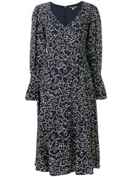 Alexa Chung Clouds Print Longsleeved Dress Blue