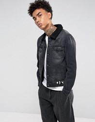 Cayler And Sons Denim Jacket In Black With Borg Lining Black