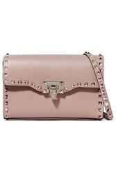 Valentino Garavani The Rockstud Small Textured Leather Shoulder Bag Blush