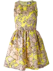 Msgm Floral Print Flared Dress Yellow And Orange
