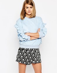 Sister Jane Topaz Volante Oversized Crew Neck Sweatshirt With Ruffle Detail Blue