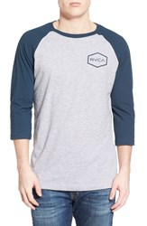 Men's Rvca 'Hexed' Three Quarter Raglan Sleeve Baseball T Shirt Athletic Midnight