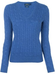 Polo Ralph Lauren Cable Knit V Neck Jumper Blue