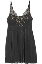 Hanky Panky Rose D'or Metallic Lace Trimmed Stretch Tulle Chemise Black