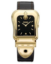 Fendi B. Diamond Buckle Watch With Leather Strap Black