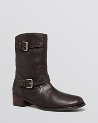 Delman Moto Booties Max T Moro Brown