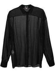Giambattista Valli Sheer Classic Shirt Women Silk 40 Black