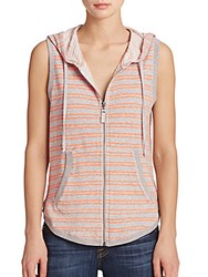 Splendid Hooded Zip Up Vest Tangerine Multi
