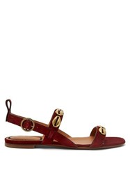 Etro Embellished Suede Sandals Red
