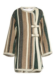 See By Chloe Contrast Striped Oversized Woven Coat Multi