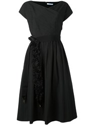 Blumarine Ruffled Belted Flared Dress Black