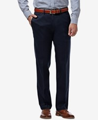 Haggar Men's Premium Straight Fit Non Iron Stretch Flat Front Pants Dark Navy