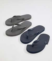 Asos Design Flip Flops 2 Pack In Navy And Grey Save Multi