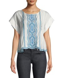 Ella Moss Embroidered Scalloped T Shirt White