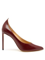 Francesco Russo Point Toe Leather Pumps Burgundy