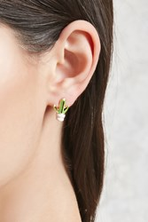 Forever 21 Cactus Enamel Stud Earrings Green Gold