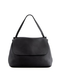 The Row Top Handle 14 Leather Flap Top Shoulder Bag Black