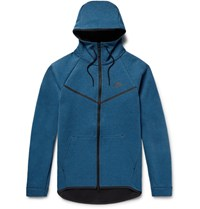 Nike Sportswear Slim Fit Cotton Blend Tech Fleece Zip Up Hoodie Blue