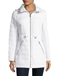 Karl Lagerfeld Faux Fur Trimmed Quilted Walker Coat White