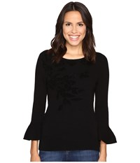 Ellen Tracy Bell Sleeve Flocked Sweater E Black Women's Sweater