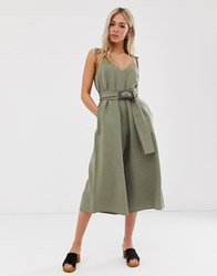 Moon River Spaghetti Strap Jumpsuit With Waist Belt Green