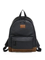 Coach Rip Repair Polished Pebble Leather Backpack Black Brown