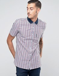 Lambretta Shirt In Gingham With Short Sleeves Red