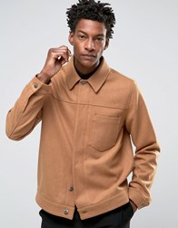 Asos Military Style Wool Mix Jacket In Camel Camel Tan
