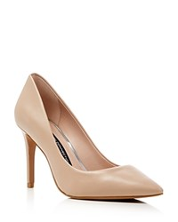 French Connection Rosalie Leather Pointed Toe Pumps Almost Nude