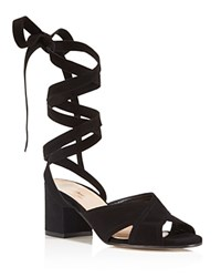 Charles David Blossom Lace Up Mid Heel Sandals Black