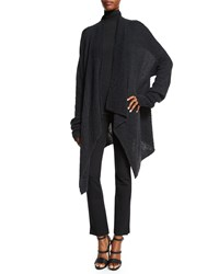 Donna Karan Long Sleeve Draped Front Cardigan Charcoal Grey Size S