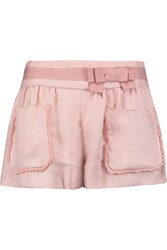 Red Valentino Redvalentino Bow Embellished Frayed Basketweave Linen Shorts Pastel Pink