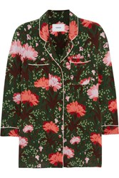 Erdem Ray Floral Print Silk Satin Blouse Green