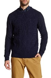 Barque Crew Neck Cable Knit Sweater Blue