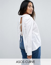 Asos Curve Open Back Shirt With Deep Cuff White