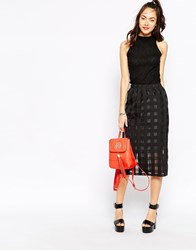 Motel Himalayan Midi Skirt In Sheer Black Check Black