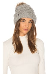 Plush Chunky Knit Beanie With Faux Fur Pom Gray