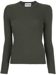 Moschino Ribbed Sweater With Tulle Inset Virgin Wool Green