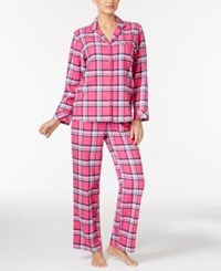 Charter Club Printed Flannel Pajama Set Only At Macy's Pink Plaid