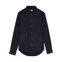 Jigsaw Stretch Slim Fit Long Sleeve Shirt Navy