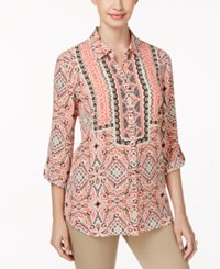 Jm Collection Printed Roll Tab Blouse Only At Macy's Ethnic Vibes